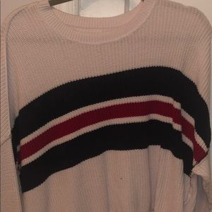 light white/pink navy&red sweater slightly cropped